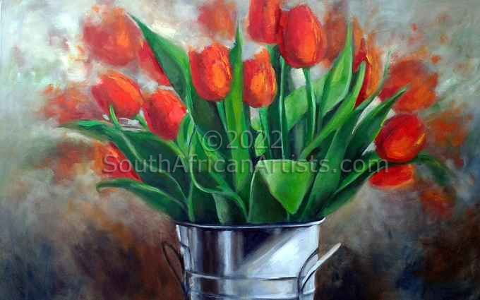 """Red Tulips in Bucket"""