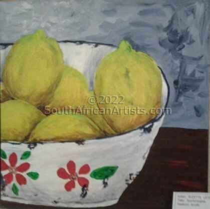 """Lemons in Enamel Bowl"""