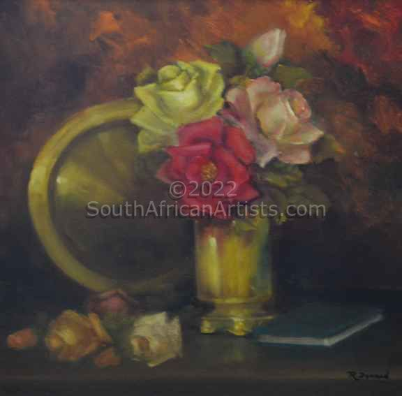 """Mixed Roses with Copper Plate"""