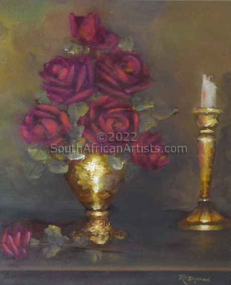 """Red Roses with Candle"""