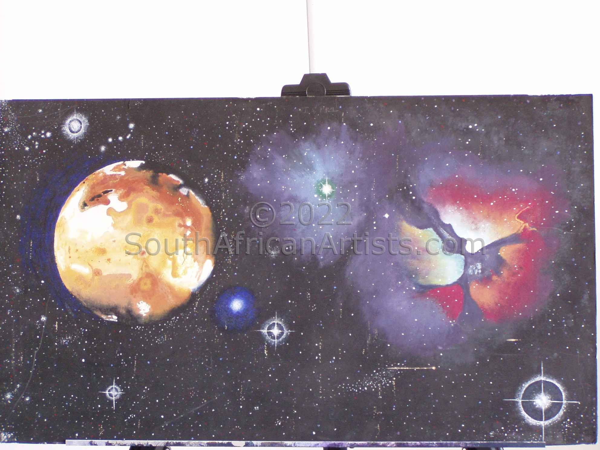 """Triffid Nebula &Amp; Io Moon. Eg of How I Paint"""
