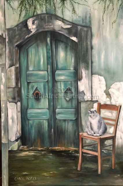 """Cat Sitting on Chair at Old Door Entrance"""