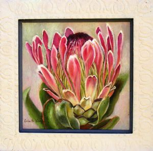 """Pink Protea Boxed in Frame"""
