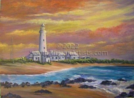 """Lighthouse in evening glow"""