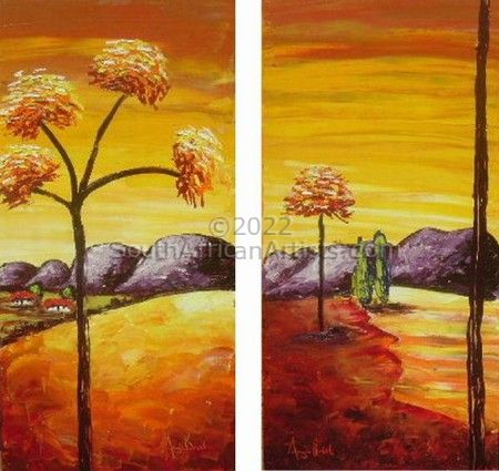"""Ochre Landscape with red trees"""