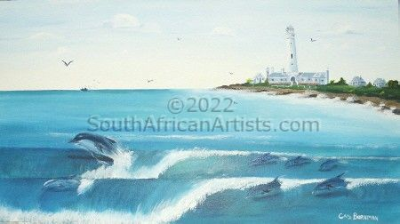 """Dolphins Surfing at Seal Point Lighthouse Cape St. Francis"""