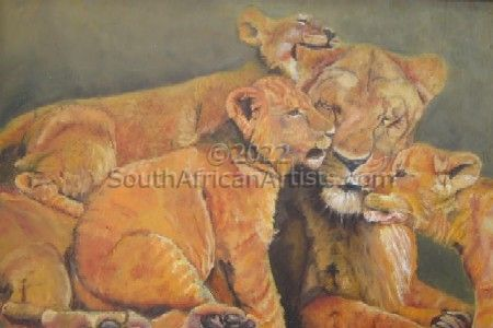 """Lioness with cubs"""