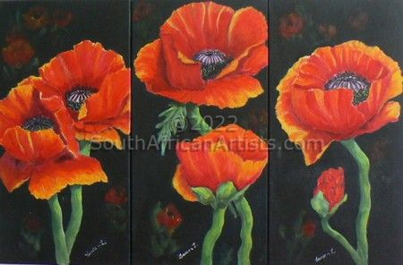 """Red Poppies Set of Three"""