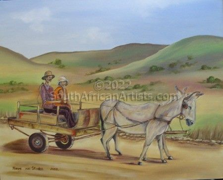 """Donkey Cart on a Country Road"""