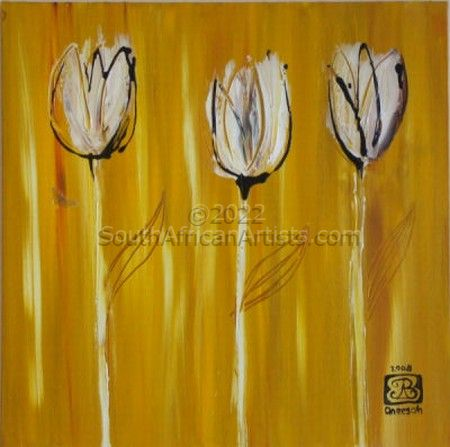 """Three Tulips in Gold"""