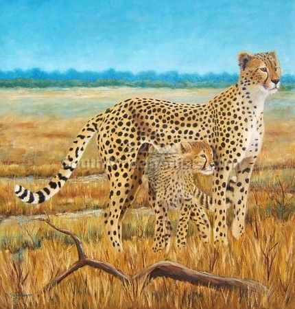 """Cheetah with Cub"""