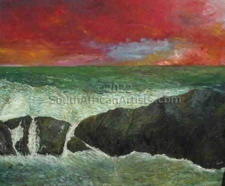 """Red sky Sea and rocks south africa"""