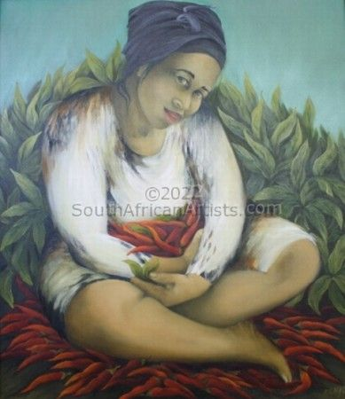 """Woman with Chillies in her lap"""