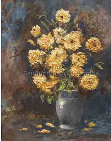 """Yellow Roses and Grey Vase"""