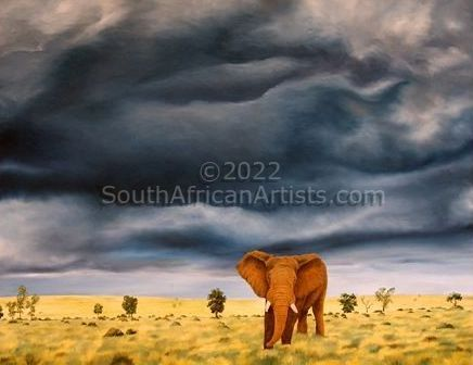 """Elephant in Stormy Landscape"""