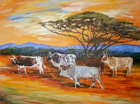 """African Landscape with Nguni"""