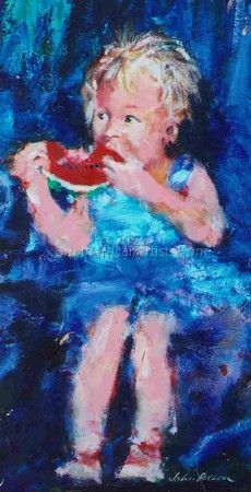 """Little Girl Eating Watermelon"""