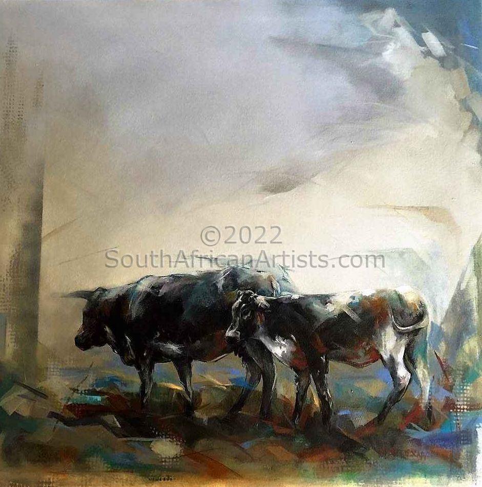 """Midland Cows, Mist Rolling In"""