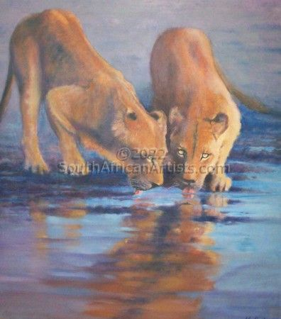 """Lion Cubs at the Waterhole"""