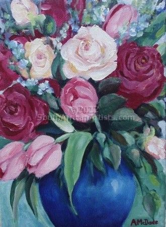 """Roses and Tulips in Blue Vase"""