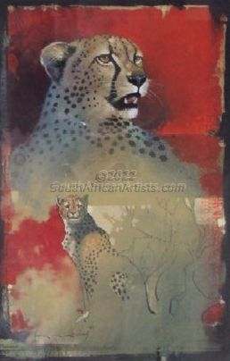 """Cheetah Scetch In Red"""