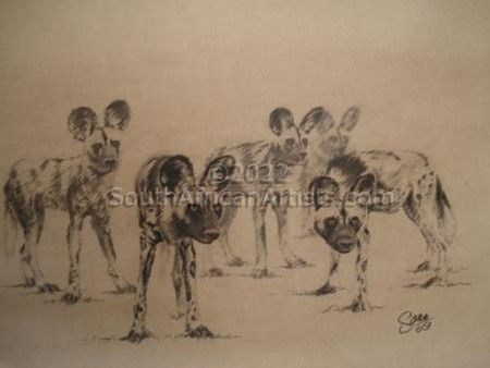 """Wild Dogs in Charcoal"""