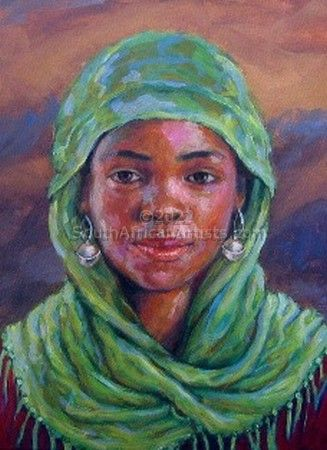 """African girl in green cloth"""