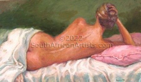 """Nude on Scarlet Pillow"""
