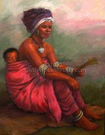 """Rural Mother and Baby in Pink Cloth"""