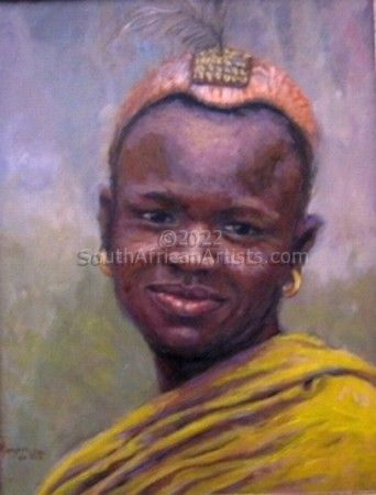 """African Man in Yellow Cloth"""