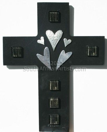 """Cross with hearts"""