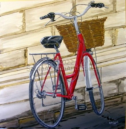 """Red delivery bike"""