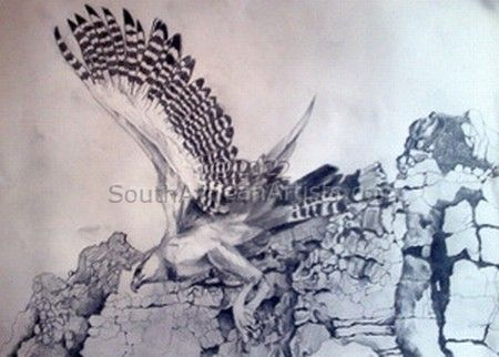 """Eagle Soaring Past the Cliffs"""