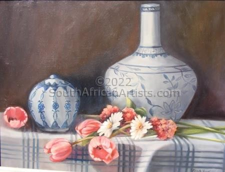 """Delft Vases and Pink Tulips"""