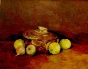 """Copper Pot with Apples"""