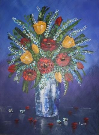 """Red and Yellow Flowers in Glass Pot"""