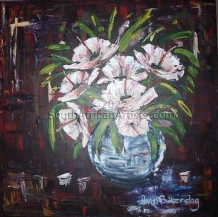 """White flowers in Glass"""