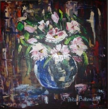 """Glass Vase with White Flowers"""