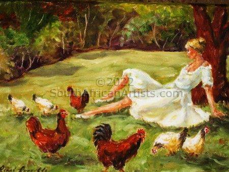 """Lady in White With Chickens"""