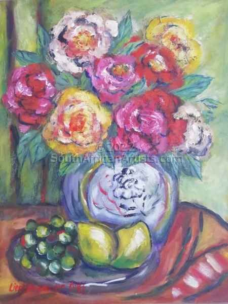 """Roses and fruit still life"""