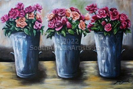 """Pails of Pink Roses"""