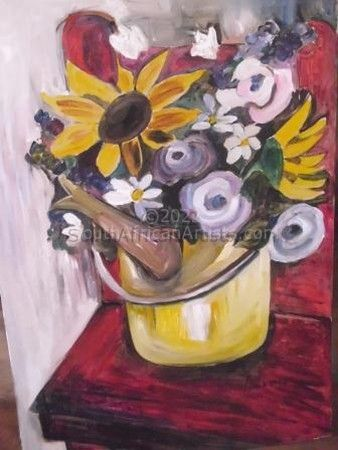 """Red chair and sunflowers"""