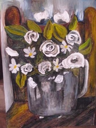 """White flowers & brown chair"""