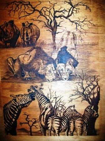 """Animals on Wood (Pyrography)"""