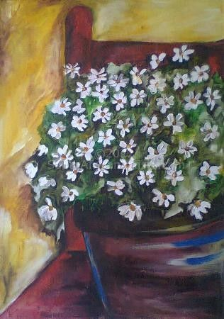 """daisies and a red chair"""