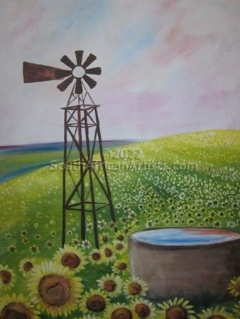 """Sunflowers and Windmill"""