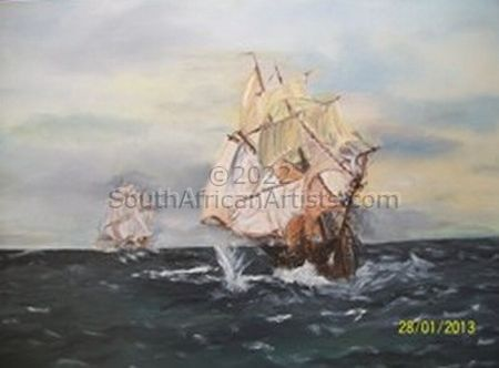 """Old Tall Ships in Battle"""