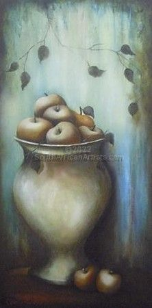 """Apples in Urn with Blue Background"""