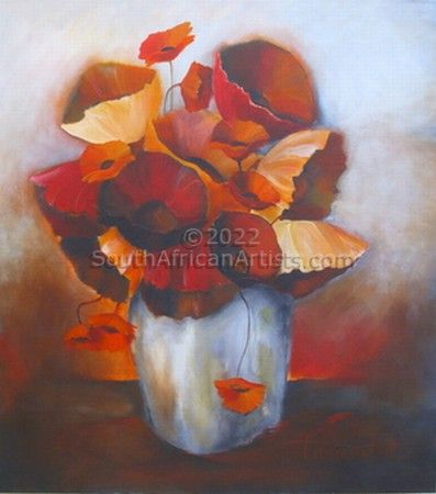 """Red and Orange Poppies in Vase"""