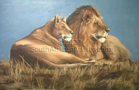 """Lion and Lioness Resting"""